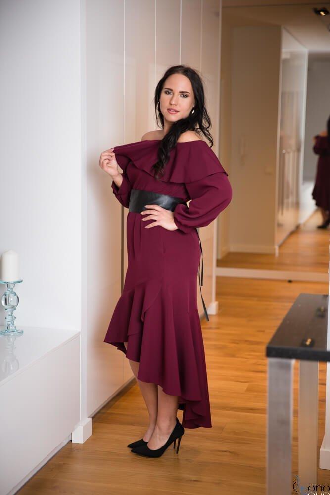 Bordowa Sukienka LUSJA Hiszpanka Plus Size