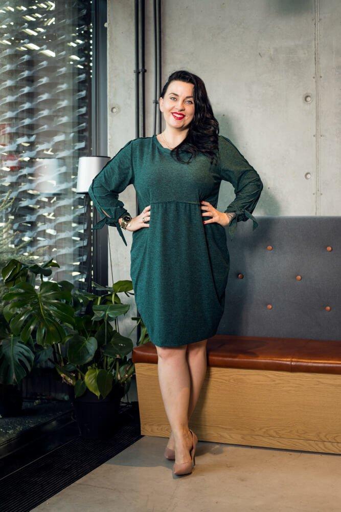 Zielona Sukienka  RATELA Tuba Odcinana Duże rozmiary