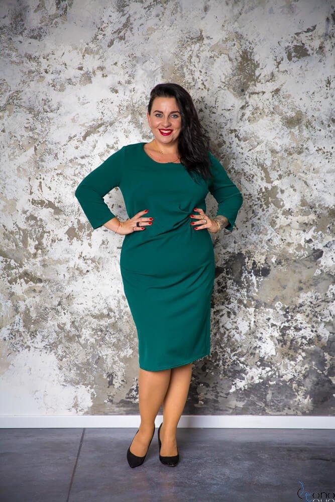 Zielona Sukienka SONATA Drapowana Plus Size