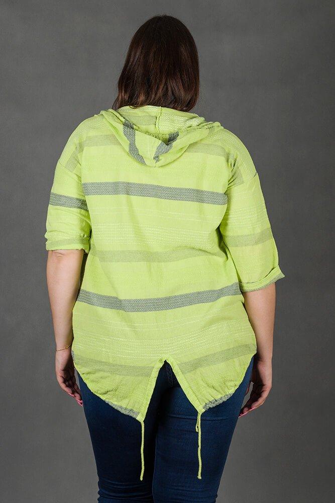Zielony Kardigan LERIDA Plus Size Narzutka