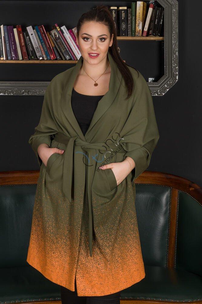 Zielony Płaszcz DUNAS Designerski Oversize