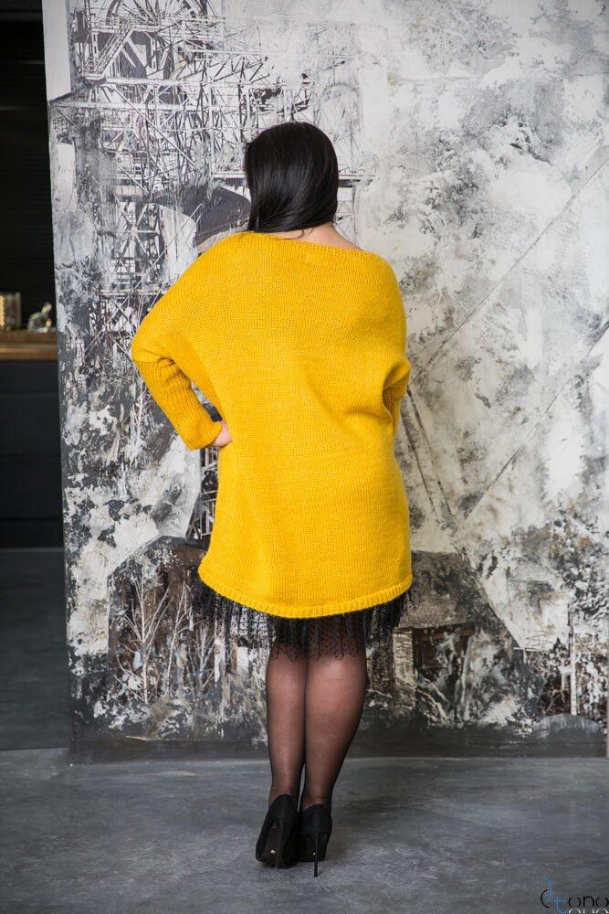Żółta Sukienka ANDER  Plus Size