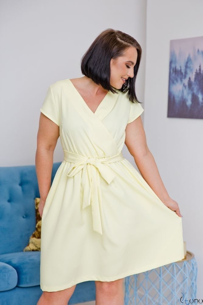 Żółta Sukienka MACARIS Plus Size