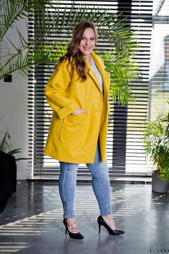 Żółty Płaszcz HOKER Plus Size