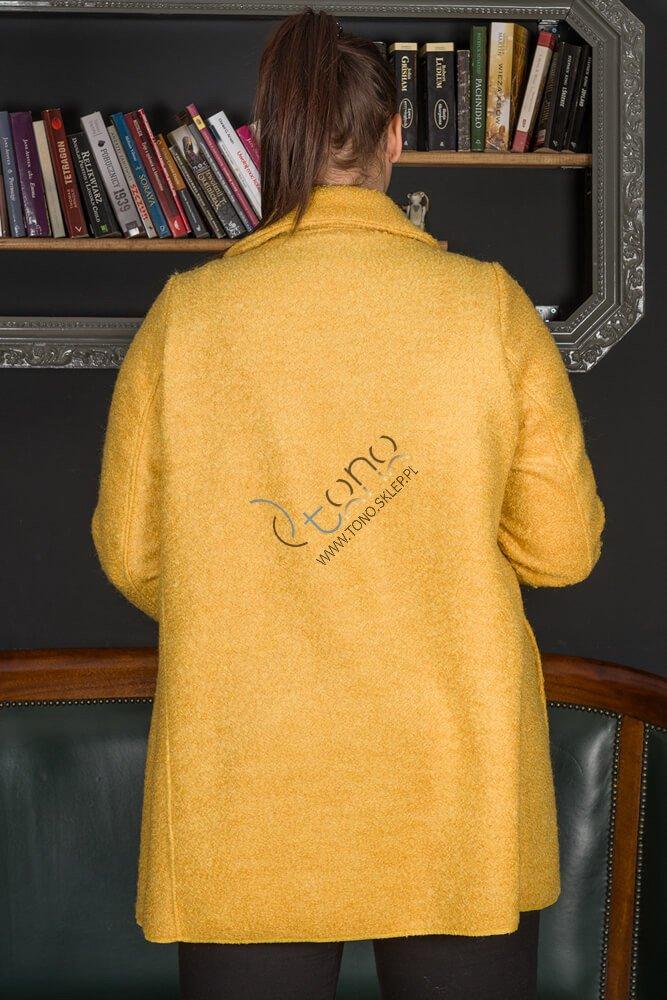 Żółty Płaszcz damski FELPA Trapezowy Plus Size